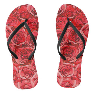 Tongs Roses rouges