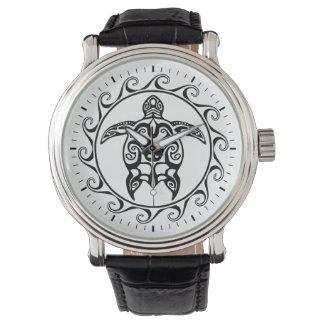 Tortue tribale noire montres cadran