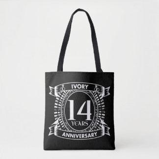 Tote Bag 14ème anniversaire d'IVOIRE de mariage
