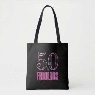 Tote Bag 50 et anniversaire de typographie noire rose