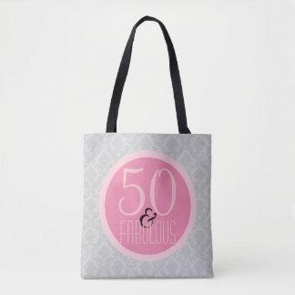 Tote Bag 50 et damassé grise rose chic fabuleuse