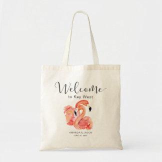 Tote Bag Accueil rose de mariage de destination de flamants