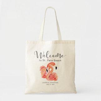 Tote Bag Accueil rose de mariage de plage de flamants