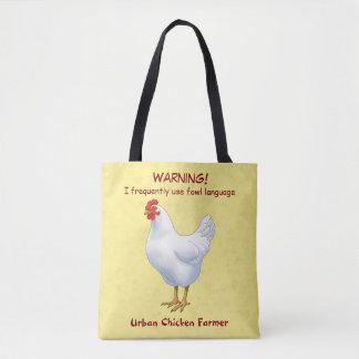 Tote Bag Agriculteur urbain de poulet de langue drôle de