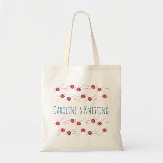 Tote Bag Aiguilles roses de fil et de tricot, avec votre