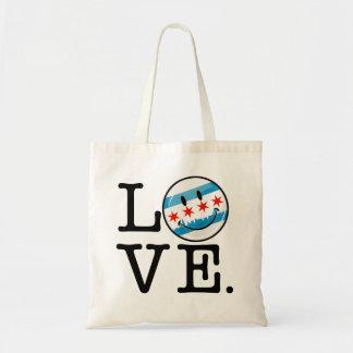 Tote Bag Amour pour le drapeau de sourire de Chicago