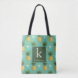 Tote Bag Ananas lumineux sur le monogramme géométrique du
