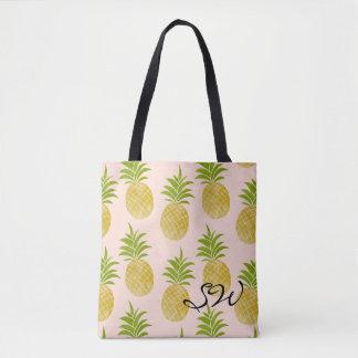Tote Bag Ananas snob Fourre-tout décoré d'un monogramme