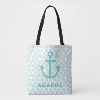 Tote Bag Ancre nautique d'Aqua avec le motif de points