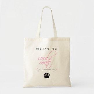 Tote Bag Animal familier rose et noir de silhouette d'âme