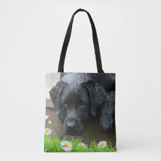 Tote Bag Appréciez les petites choses - Labrador noir