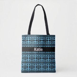 Tote Bag Aqua et motif rayé tribal noir Fourre-tout d'ancre