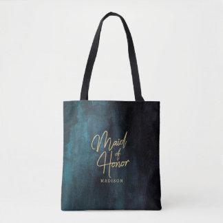 Tote Bag Aquarelle de bleu marine et domestique d'or de