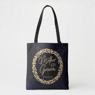 Tote Bag Aquarelle de bleu marine et mère d'or du marié