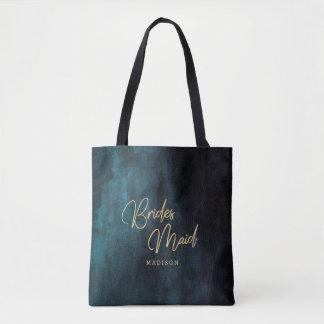 Tote Bag Aquarelle de bleu marine et monogramme de