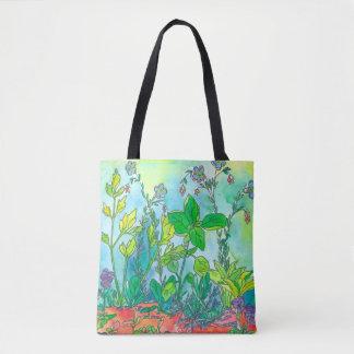 Tote Bag Aquarelle de jardin de herbes aromatiques de Basil