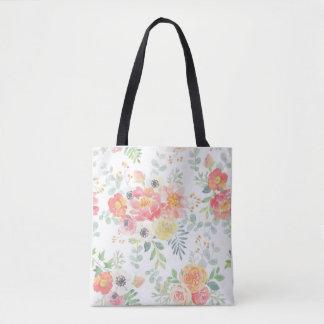 Tote Bag Aquarelle florale aux pastels