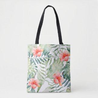 Tote Bag Aquarelle florale de ketmie tropicale de feuille