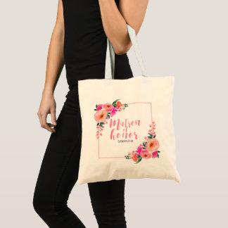 Tote Bag Aquarelle florale rose rustique de dame de honneur