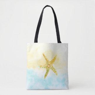 Tote Bag Aquarelle jaune bleue d'étoiles de mer