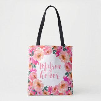 Tote Bag Aquarelle rose rustique de dame de honneur florale