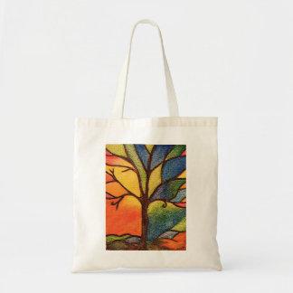 Tote Bag Arbre abstrait, effet coloré en verre souillé