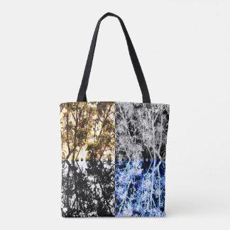 Tote Bag Arbres forestiers et feuille organiques de motif