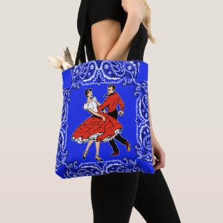 Tote Bag Arrière - plan bleu de Bandana de couples de danse