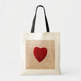 Tote Bag Arrière-plan de bois coeur