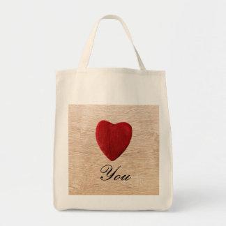 Tote Bag Arrière-plan de bois Love you