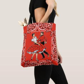 Tote Bag Arrière - plan rouge de Bandana de couples de