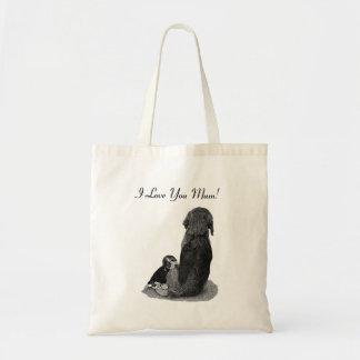 Tote Bag Art de caresse de réaliste de chien de maman de