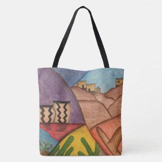 Tote Bag Art populaire coloré de désert de sud-ouest