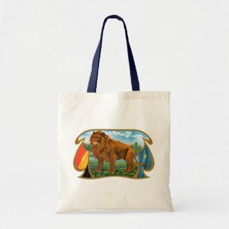 Tote Bag Art vintage d'étiquette de cigare, lion, roi de la