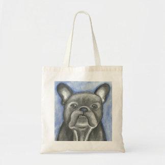 Tote Bag Attitude bleue fourre-tout de bouledogue français