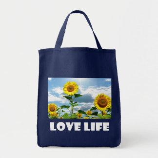 Tote Bag Attitude jaune de la vie de tournesol, citation de