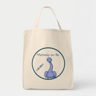 Tote Bag Baby shower bleu de dinosaure