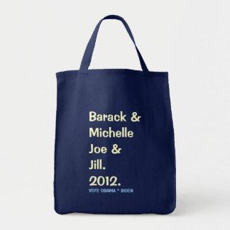 Tote Bag Barack Michelle Joe et Jill 2012 Fourre-tout vert