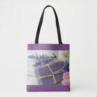 Tote Bag Barre de beauté de lavande avec des fleurs