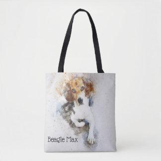 Tote Bag Beagle à la mode d'aquarelle personnalisé