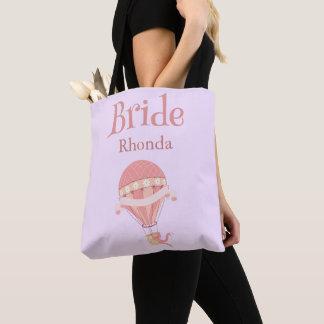 Tote Bag Beau ballon à air chaud de jeune mariée pourpre et
