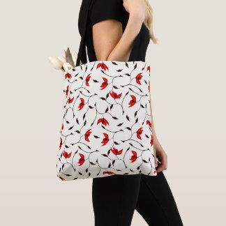 Tote Bag Beau motif de fleur rouge sensible