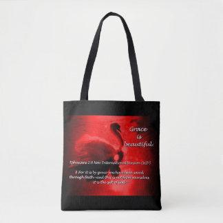 Tote Bag Beau rouge d'emballage de cygne de grâce
