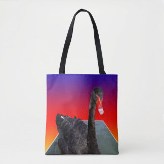 Tote Bag Black_Swan, _Rainbow_Popout_Art, _Shopping_Bag