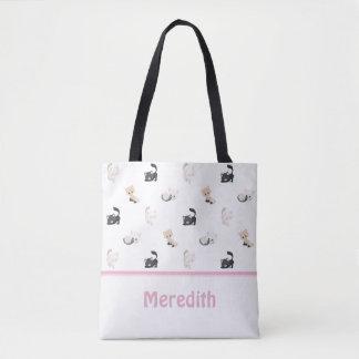 Tote Bag Blanc adorable | du motif | de chats personnalisé