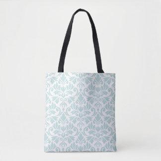 Tote Bag Bleu d'oeufs de canard de motif de damassé de