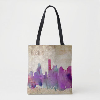 Tote Bag Boston, horizon de ville d'aquarelle de mA |