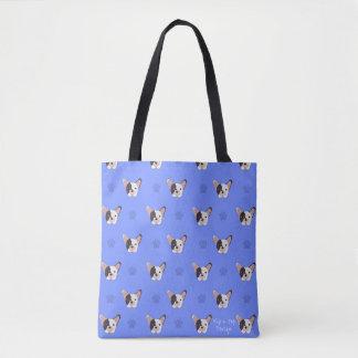 Tote Bag Bouledogue français Fourre-tout de patte bleue