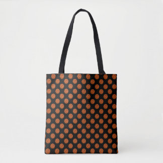 Tote Bag Boules de basket-ball de Brown sur le noir