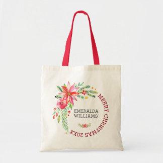 Tote Bag Bouquet et texte floraux de fleurs de Joyeux Noël